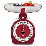 ADE analoge Küchenwaage KM1900-2 Shirley (Küchenwaage mechanisch, klassische Waage für Küche und Haushalt, traditionelle Waage ohne Batterien im Vintage/ Retro-Look, Metallgehäuse), 5kg, Rot