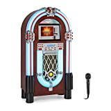 auna Graceland Touch Jukebox + Karaoke-Mikrofon,Bluetooth-Funktion, CD-Player, 12' Touch-Bedienfeld,WLAN-Schnittstelle, LED-Lichteffekte, USB-Port, SD-Slot,Mikrofon-Eingang, FM-Radio