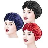 Ealicere 3 Stück Satin Mütze, satin bonnet,satin haarhaube Satin Night Cap, Weiche Nachtmütze Kopfhaube für Mädchen Schlaf Haarpflege