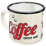 Nostalgic-Art, Retro Emaille-Tasse, Strong Coffee Served Here – Geschenk-Idee für Kaffee-Liebhaber, Camping-Becher, Vintage Design, 360 ml