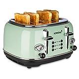 Korona 21675 Toaster, 4 Scheiben, Mint, Röstgrad-Anzeige, auftauen, rösten, aufwärmen, 1630 Watt, Brötchen-Aufsatz, Krümel-Schublade, Brotscheiben-Zentrierung