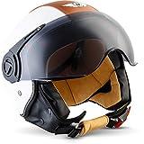 "Moto Helmets® H44 ""Vintage White"" · Jet-Helm · Motorrad-Helm Roller-Helm Scooter-Helm Bobber Mofa-Helm Chopper Retro Cruiser Vintage Pilot Biker · ECE Visier Schnellverschluss Tasche S (55-56cm)"