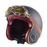 DLPAC Half Open Face Motorradhelm mit Fliegerbrille Vintage Jet-Helme Cruiser DOT-Zertifiziert Scooter-Helm Moped Mofa-Helm Chopper Retro mit Harley-Brille Sun Visier