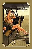Generisch Nostalgie Pin up Army Pilotin Blechschild Metallschild Schild Metal Sign 20 x 30 cm