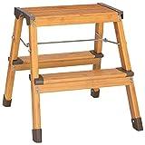 Navaris Aluminium Klapptritt 2 Stufen mit Holzoptik - klappbar - Alu Trittleiter belastbar bis 150kg - leichte 2 x 2 Stufen Haushalt Fußtritt Leiter