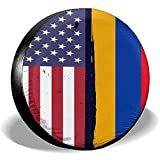 Hokdny Radreifenabdeckungen, Wasserdichter Ersatzreifenschutz,Armenien Flagge Usa Flagge Retro Reifenabdeckungen Auto Auto Ersatzreifen Reifenabdeckung