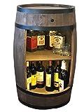 weeco Bar Schränk LED. Weinregal, Weinschrank im Retro Stil. Höhe 81cm. Fass mit Massivholz