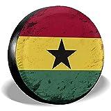 Auto Reifenabdeckung Retro Grunge Ghana Flag Rad Reifenabdeckung Schmutzfeste Reifenabdeckung wasserdichte Ersatzreifenabdeckung 15 Zoll