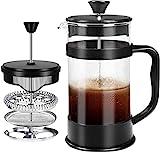 KICHLY French Coffee Press 34 Oz - 1000 ml - Espresso - und Teemaschine mit Dreifachfiltern, Edelstahlkolben und hitzebeständigem Borosilikatglas (Black)