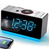 Radiowecker mit kabellosen Bluetooth, Digital-FM-Radio, Dual-Alarm mit Schlummerfunktion, 4-Stufen-Dimmer, Handy-USB-Ladefunktion, Nachtlicht, Backup mit Batterie bei Stromausfall (CKS708BT)