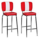 FineBuy 2er Set Barhocker American Diner 50er Jahre Retro 2 Barstühle | Sitzfläche gepolstert mit Rücken-Lehne | Thekenstühle mit Fußstütze | Sitzhöhe 76 cm | Farbe: Rot Weiß