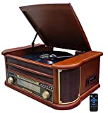 Nostalgie Holz Musikanlage   Bluetooth   Kassettendeck   Kompaktanlage   Retro Stereoanlage   Plattenspieler   Radio   CD MP3 Player USB   Fernbedienung   MP3-Encoding: Aufnahmefunktion AUX IN  