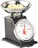 Rosenstein & Söhne Mechanische Küchenwaage: Analoge Retro-Küchenwaage bis 2 kg mit Tara-Funktion, schwarz, Metall (Retro Waage)