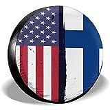 Hokdny Radreifenabdeckungen, Wasserdichter Ersatzreifenschutz,Finnland Flagge Usa Flagge Retro Reifenabdeckungen Auto Auto Ersatzreifen Reifenabdeckung