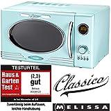 Melissa 16330122 Retro Mikrowelle/900 Watt/25 Liter Garraum,Design Mikrowelle mit Grill/Peppermint, stainless_steel,
