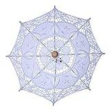 Damen Sonnenschirm mit manueller Öffnung, Hochzeits-Brautschirm, hohl, Stickerei, Spitze, einfarbig, weiß, romantische Foto-Requisiten mit Holzgriff, 8 Rippen