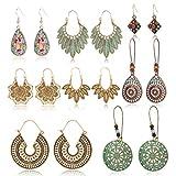 HOWAF 8 Paar Boho Ohrringe Hängeohrringe, Vintage Retro Bohemian Ohrringe Tropfenohrring Baumelnde für Frauen Damen Mädchen Modeschmuck Ohrringe Geschenk
