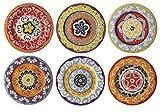 Rose & Tulipani Teller, mediterraner Stil, bunt, 6 Verschiedene Teller, 16cl