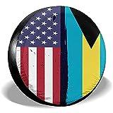 Hokdny Radreifenabdeckungen, Wasserdichter Ersatzreifenschutz,Bahamas Flagge Usa Flagge Retro Reifenabdeckungen Auto Auto Ersatzreifen Reifenabdeckung