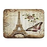 Fußmatten, Vintage Paris Eiffelturm Retro Blume Schmetterling Rose Blumenstempel Romantik Stadt Landschaft, Küche Boden Bad Teppich Matte Saugfähig Innen Badezimmer Dekor Fußmatte rutschfest