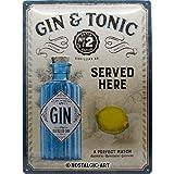 Nostalgic-Art Open Bar – Gin & Tonic Served Here – Geschenk-Idee für Cocktail-Fans, Retro Blechschild, aus Metall, Vintage-Dekoration, 30 x 40 cm