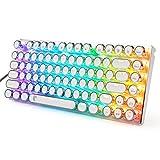 HUO JI E-Yooso Z-88 Retro RGB Mechanische Tastatur, Vintage Schreibmaschine mit braunem Schalter, LED-Hintergrundbeleuchtung, kompakte 81 Tasten Anti-Ghosting für PC & Mac (brauner Schalter, weiß)