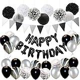 Schwarz Silber Geburtstagsdeko Männer Frauen - Schwarz Weiß Konfetti Marmor Ballons Set, Happy Birthday Banner, Papier Poms für 18. 21. 30. Geburtstag Party Supplies