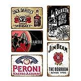 Makkalensau 5 Stück Vintage Bier Whisky Plakette Retro Metallschild Blechschild Herren Cave Bar Pub Werbung Wanddekoration 20x30cm YD4272J