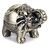 IWILCS Metall Elefant Aschenbecher, Windfester Vintage-Aschenbecher mit Deckel-Elefanten-Form, Tisch-Aschenbecher, für drinnen und draußen, Retro, für Zuhause, Büro