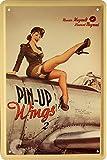 Sexy Strapsmaus Army Pin Up Girl auf Flugzeug 20x30 cm Blechschild 22