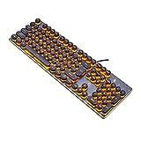 GTJXEY USB LED Backlit Retro Schreibmaschine mechanische Tastatur-Runde Tastenkappen-104 Tasten Vintage inspirierte Steampunk Gaming-Tastatur - mechanische Gaming-Tastatur für PC,Orange