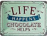 Nostalgic-Art Retro Blechschild Life Happens – Chocolate Helps – Geschenk-Idee für Nostalgie-Fans, aus Metall, Vintage-Design mit Spruch, 15 x 20 cm
