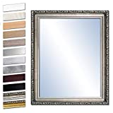 Bilderdepot24 Wandspiegel Spiegel Badspiegel Holzrahmen komplett mit Echtglas - Silber Antik - ca. 80x60 cm