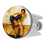 Grinscard Waschbecken Stöpsel Pin Up Girl Design - ca. 7 x 4 cm - Nose Art Spülbecken Abflussstopfen als Geschenk