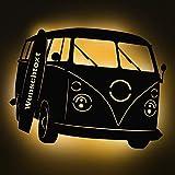 Elbeffekt Bus Lampe aus Holz- personalisierbares Geschenk - Wohnzimmer Deko - Auto Geschenk - personalisierbar zum Hinstellen/Aufhängen - Bus Lampe - persönliches Geschenk