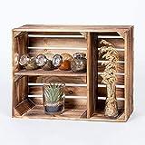 LAUBLUST Regalkiste Vintage - ca. 50x17x40cm, Holz Geflammt - Küchenregal & Gewürzregal Querformat 2 Regalböden