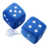 Duoying Paar blau Fuzzy Dice Dots Rückspiegel Kleiderbügel Oldtimer Auto Zubehör