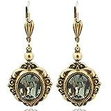 Vintage Ohrringe mit Kristallen von Swarovski® Gold Grau NOBEL SCHMUCK
