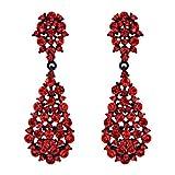 EVER FAITH Damen Ohrringe Voll Kristall Art Deco Vintage Stil Ohrhänger für Hochzeit Party Rot Schwarz