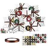 Adventskalender zum Befüllen, 24 Adventskalender Tüten, Weihnachtskalender Box mit 1-24 Zahlenaufklebern, HIBOER Weihnachten zum Basteln und Verzieren, Vintage-Stil Weihnachtskalender Bastelset