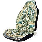 Alice Eva Vintage Retro Compass Autositzbezüge Autokissen Autositzpolster mit Gummibändern Autositzschutz 2tlg