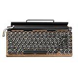 YYGE Retro Schreibmaschine Tastatur, 84 Tasten Punk Tastenkappen Retro Kabelgebundenes/Bluetooth Mechanische Tastatur - Blaue Schalter