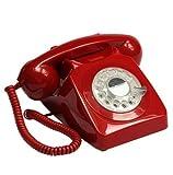 GPO 746ROTARYRED Retro Telefon mit Wählscheibe im 70er Jahre Design Rot