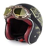 SOMAN Vintage Open-Face Motorcycle Helm Motorbike Jet Bobber Chopper Crash 3/4 Helm DOT-Zertifizierung mit Harley-Brille Sun Visier,Lucky13,XL(60~61cm)