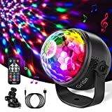 Discokugel LED Party Lampe, Gritin Discolicht Kinder Musikgesteuert Disco Lichteffekte mit 15 Farben RGBP, 360° Drehbare Party Lampe, 4M USB Kabel und Fernbedienung für Party, Weihnachten, Kinder