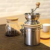 Kaffeemühle manuell Handkurbelmühle im Retro-Stil Edelstahl Mit Holzdeckel,Fur Küche Camping Und Outdoor,Geschenk