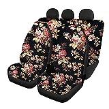 HUGS IDEA Autositzbezüge für Vorder- und Rücksitze, Retro-Design: Blumenmuster, dehnbar, 3-teiliger Sitzschutz, Automattenbezüge