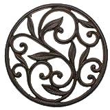 Comfify Gusseiserner Topfuntersetzer - Rund mit Vintage-Muster - Dekorativer Gusseiserner Topfuntersetzer für Küche oder Esstisch - 19.68cm Durchmesser - Rostbraune Farbe - Mit Gummibolzen
