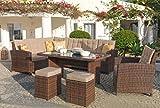 Mojawo Luxus Ecklounge 6-teilig Gartenmöbel Rattan Set Eck Sofa Garten Sitzgruppe Lounge Gartengarnitur Gartentisch Gartensofa Chiara Braun