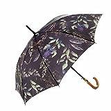 MARY SAM'S Umbrella, Stabiler ultraleichter Damen und Herren Stockschirm mit Holzgriff, Auf-Automatik Regenschirm windfest und wasserabweisend, Blumen Lila, Grün, Blau, Bunt